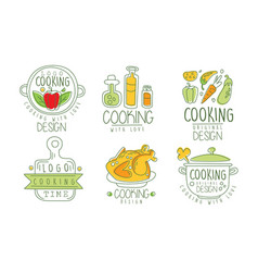 cooking time logo collection cooking with love vector image