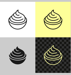 cream cheese line icon soft cream in a small bowl vector image