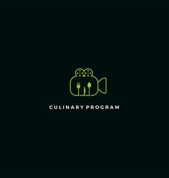 culinary recording mono line logo vector image