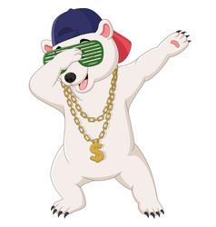 Cute polar bear dabbing dance wearing sunglasses vector