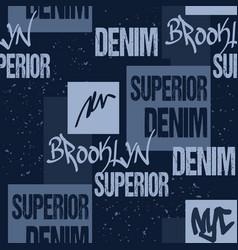 denim typography brooklyn new york artwork apparel vector image