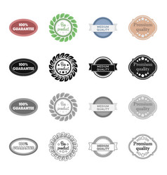 different types of labels bio product medium and vector image