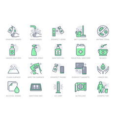 disinfection line icons vector image