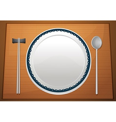 Empty plate on mat vector
