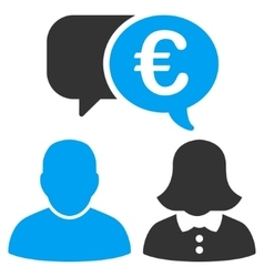 Euro Chat Flat Icon vector image