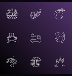Festival icons line style set with stemware vector