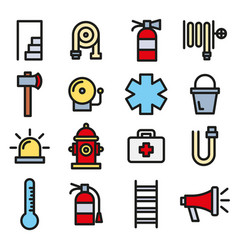 Firefighter fire department and emergency icon set vector