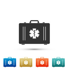 First aid box and emergency - star of life icon vector