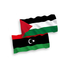 Flags palestine and libya on a white background vector
