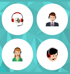 flat icon call set of headphone operator hotline vector image