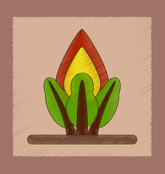 flat shading style icon fire in the forest vector image