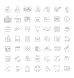 Flat thin line business and finance icons vector