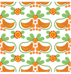 floral folk seamless pattern with birds vector image