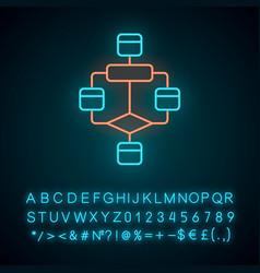 Flowchart neon light icon diagram visualization vector