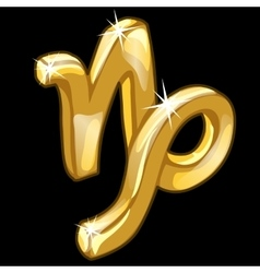 Golden zodiac sign Capricorn on black background vector