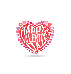 greeting card happy valentines day text in heart vector image