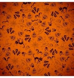 Halloween orange seamless kids doodle pattern vector image vector image