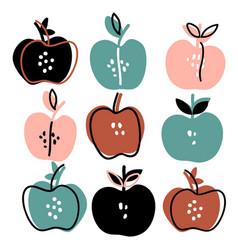 Hand drawn apples set vector