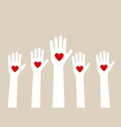 hands raising love vector image