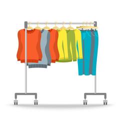 Hanger rack with warm women clothes winter set vector