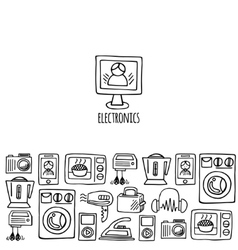 Home electronics sketch horizontal banner vector image
