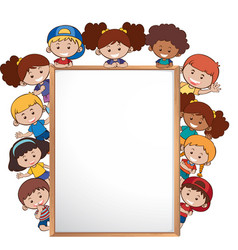 international children and whiteboard template vector image