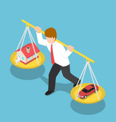 Isometric businessman carrying house and car on vector