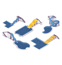 Isometric set water slides with pools for vector