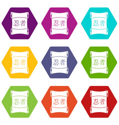Japanese traditional scrol icon set color vector