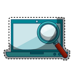 laptop computer with magnifying glass isolated vector image