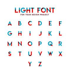 Light font set alphabetic template design vector