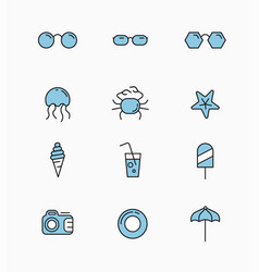 linear icons template on theme travel vector image