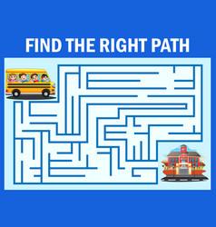 Maze game finds the school bus way get to school vector