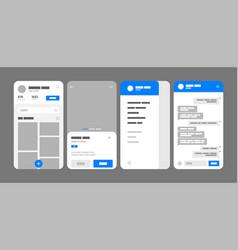 Mobile app concept flowchart with ui elements vector