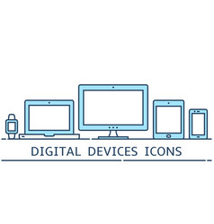 Modern flat color line responsive design icons vector