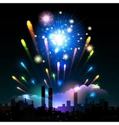 Night fireworks in a city vector