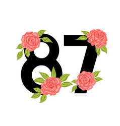 number with roses for t-shirt vector image