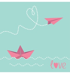Origami paper boat and paper plane vector