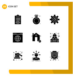 Pictograph set 9 simple solid glyphs add url vector
