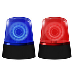police blue and red siren flashing emergency vector image