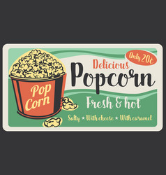popcorn fast food sweet snack vector image