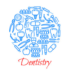 poster of dentistry icons vector image