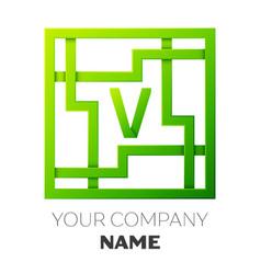 Realistic letter v symbol in colorful square maze vector