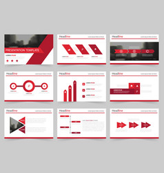red abstract presentation templates infographic vector image