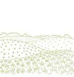Rural fields landscape countryside landscape vector