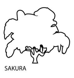 sakura icon outline style vector image