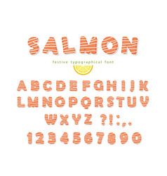 Salmon font isolated on white vector