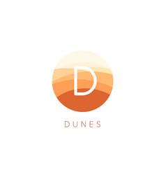Sand dunes icon desert landscape logo vector