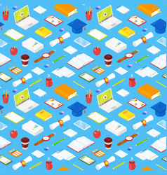 seamless pattern student accsessories vector image