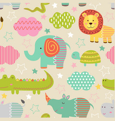 seamless pattern with bajungle animals vector image